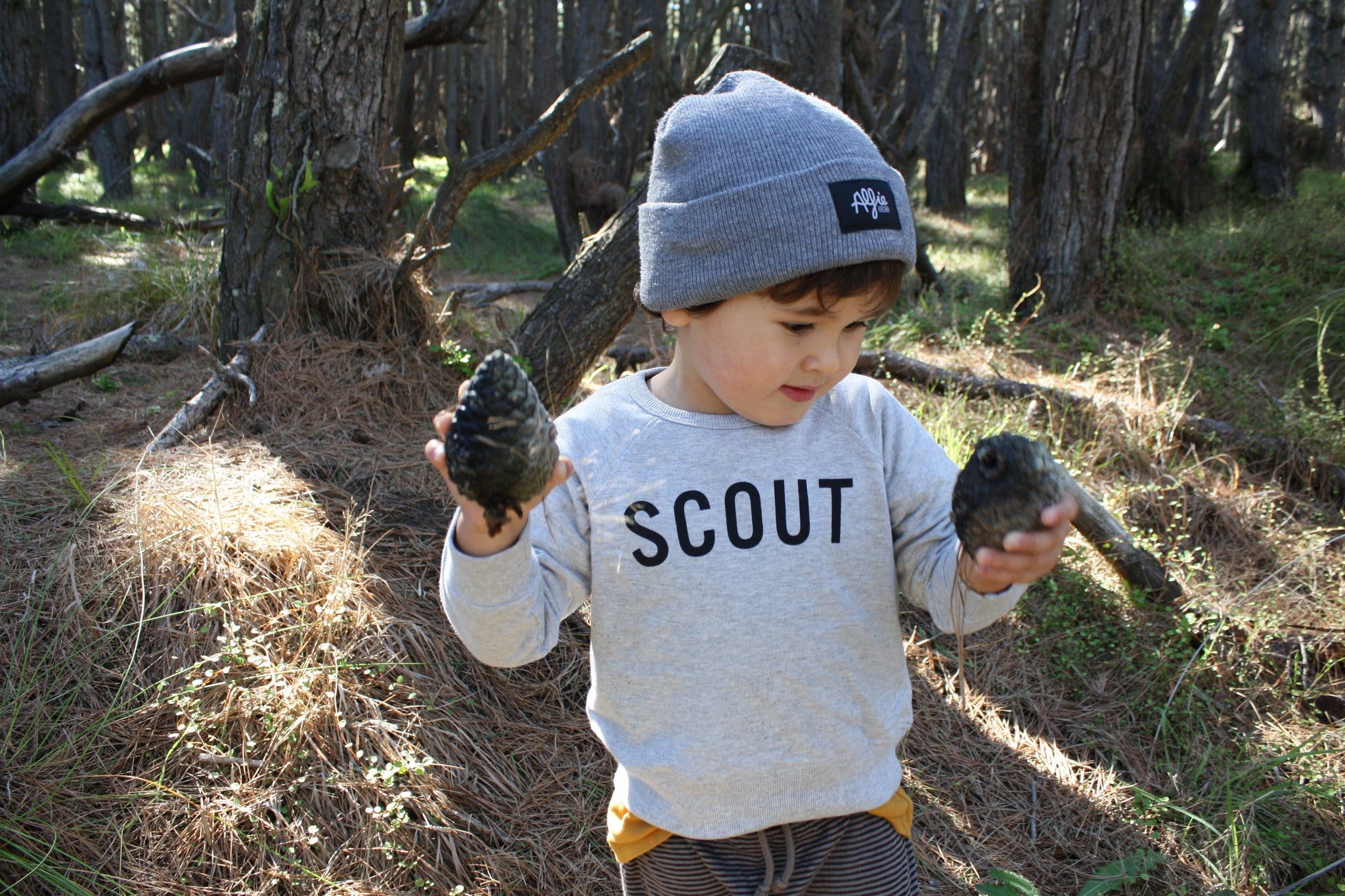 We found some pinecones, put them in the bag and keep searching. Free fun things to do with your kids these Easter holidays. Brought to you by Wilechile Boutique