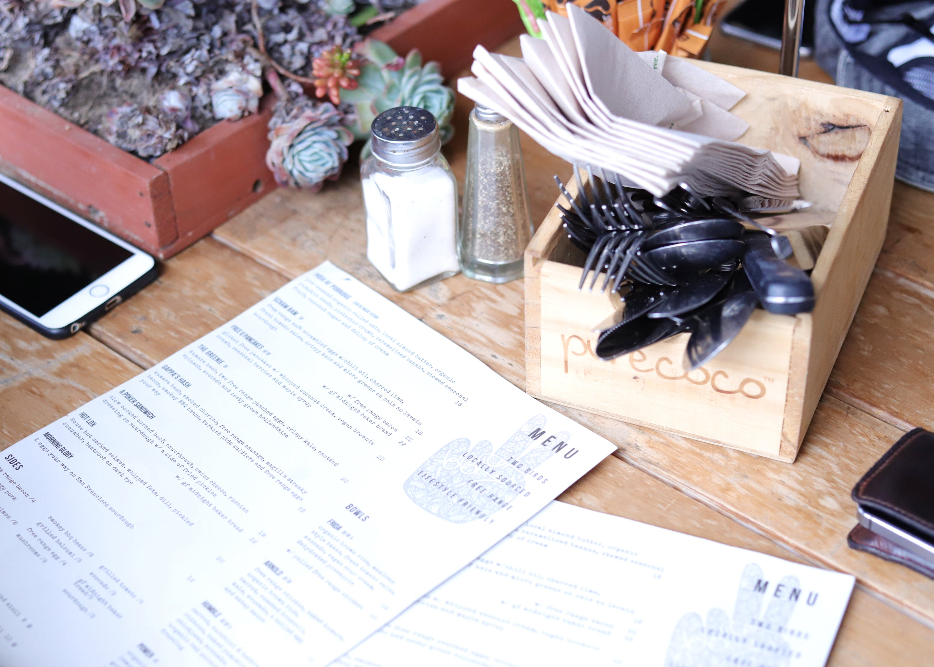 Two Birds Eatery Menu. Locally sourced food, sustainable cafe. Hamilton