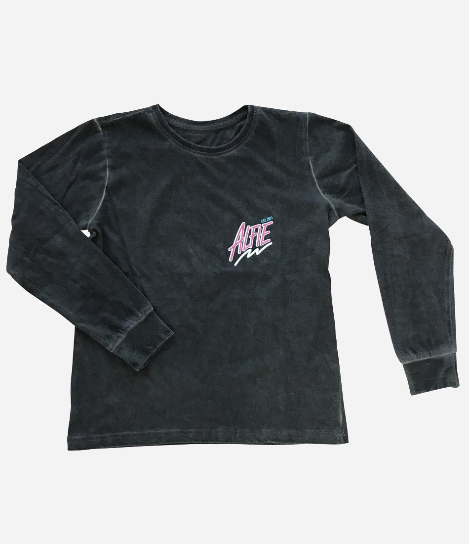 Alfie Est 2011 80's washed out shred fest Long Sleeve. Unisex, super cool, kids long sleeve. Size 1-5Y. Shop now, Wilechile Boutique now Made Mini