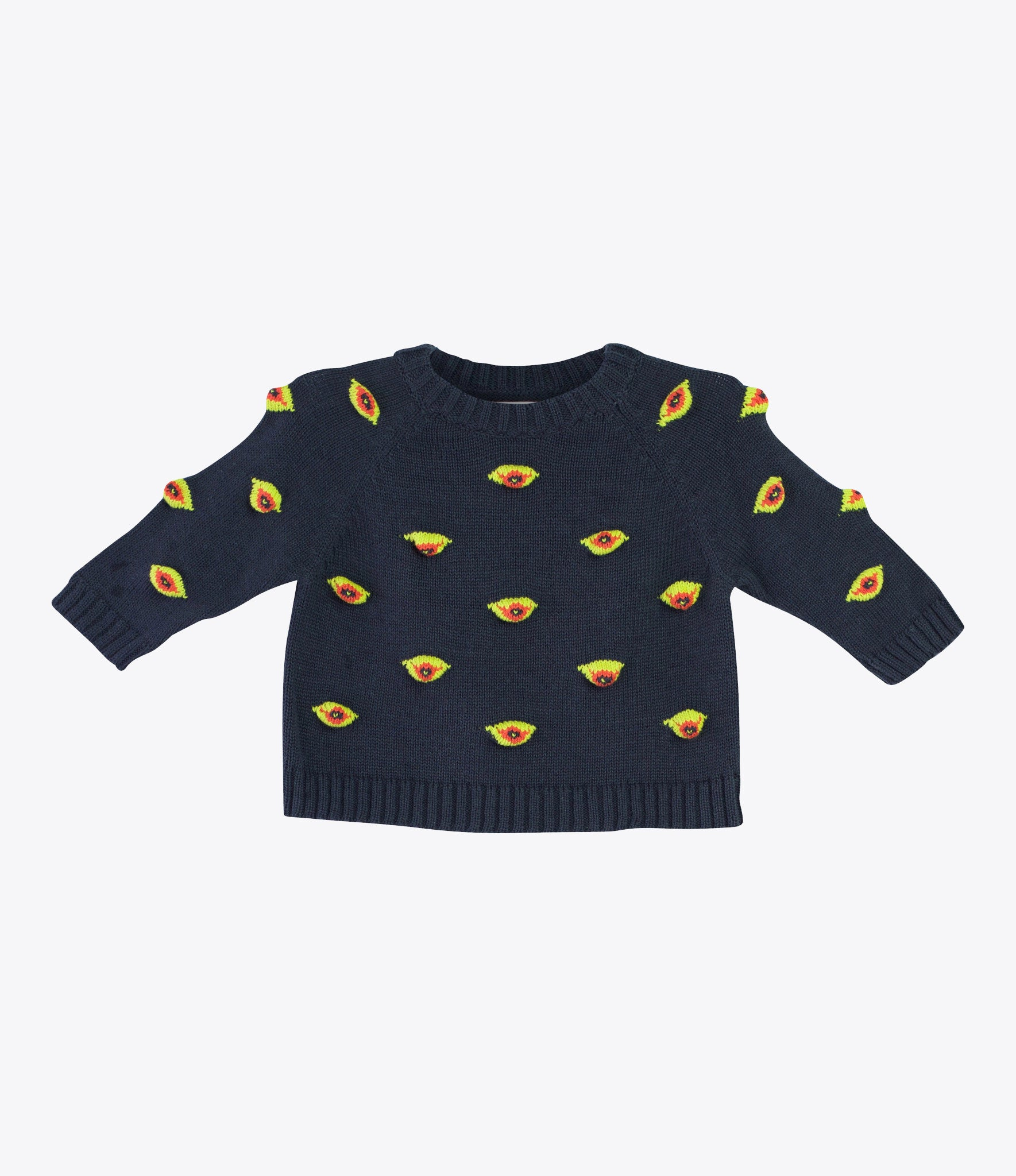 Baby Degen charcoal eyes sweat, hand knitted, special baby clothes, baby shower gift. Available at Made Mini, Auckland NZ