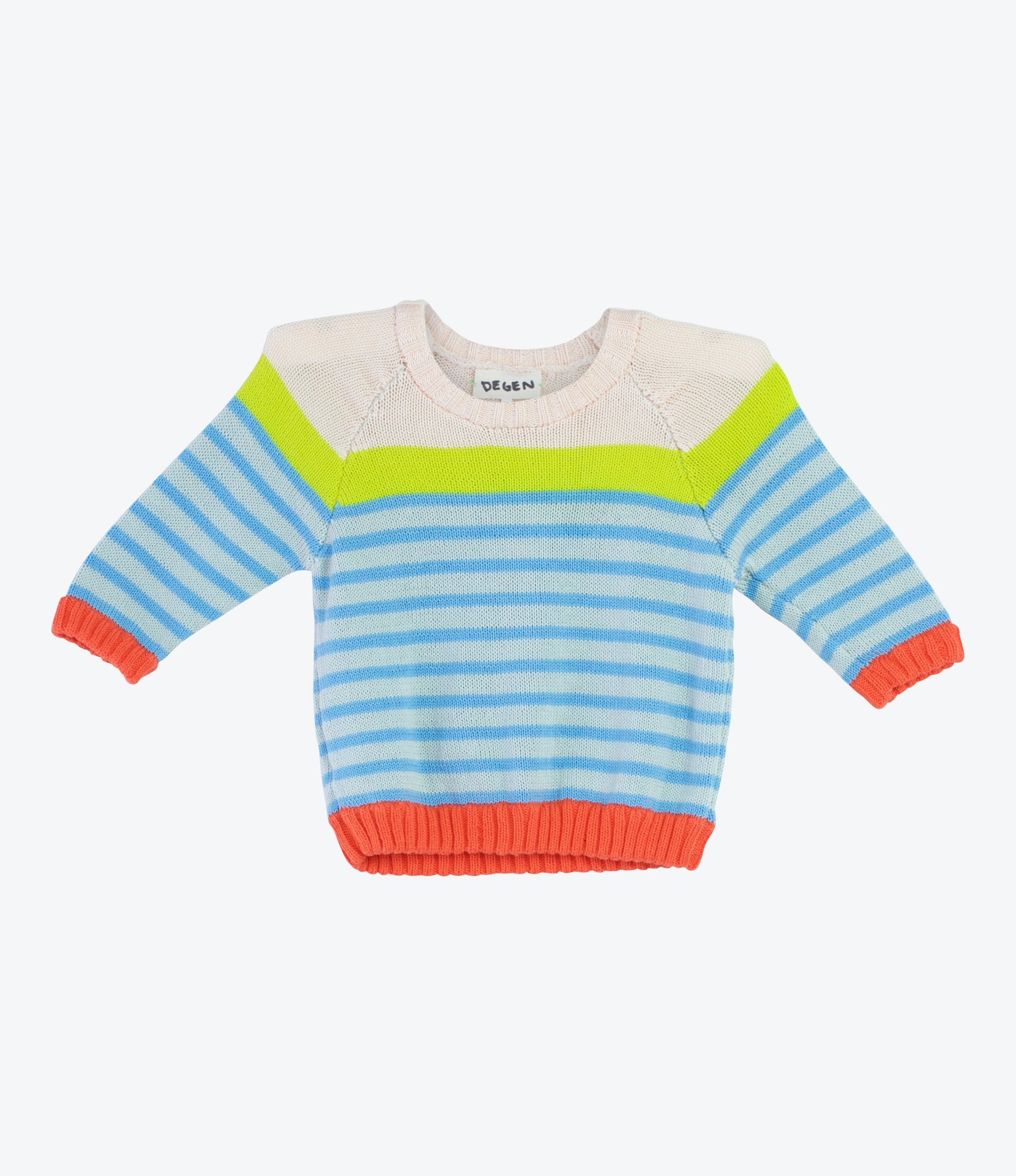 Baby Degen, Hand Knitted Sweatshirt, jumper, pullover. Finest spanish cotton, fun bright colours. Find yours at Made Mini Store in Auckland NZ