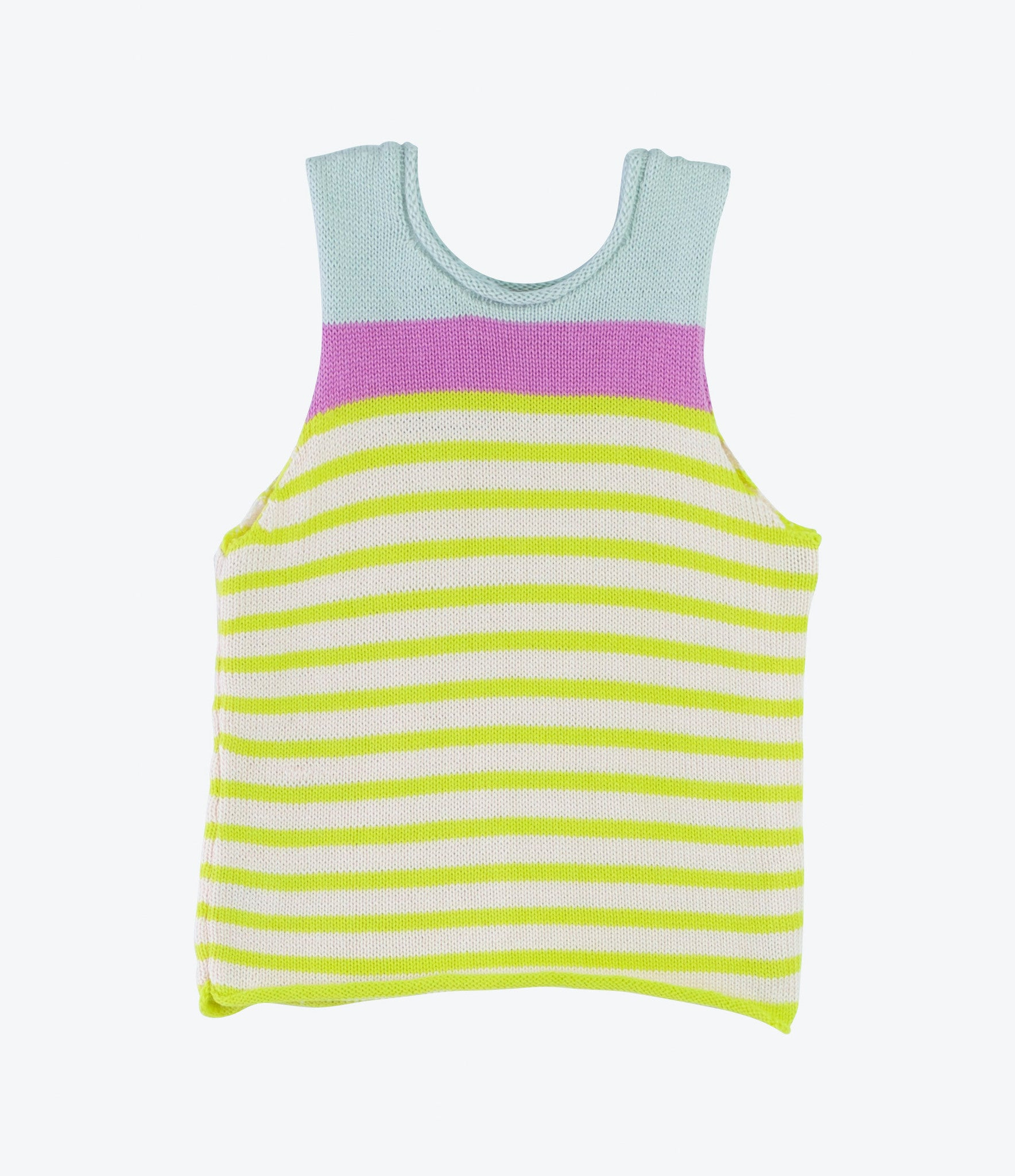 Handknitted spanish cotton colourful stripe girls singlet in purple yellow and pale blue, shop now Made Mini Store.