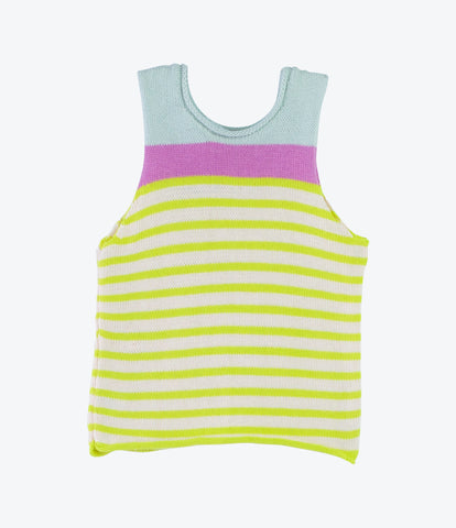 Handknitted spanish cotton colourful stripe girls singlet in purple yellow and pale blue