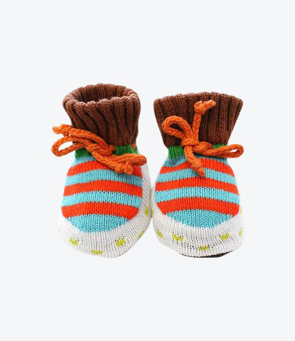 Baby Degen Booties for the baby boys. Hand knitted in Brooklynn, New York now available at Made Mini, Auckland NZ