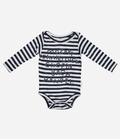 Kid and Kinds Composer Onesie is perfect for Parents who Love art and Music. Baby clothes that are special, comfortable, organic. Shop now at Made Mini Store. Auckland NZ