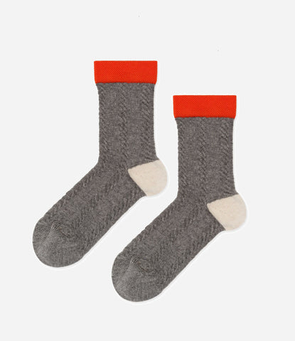 Nico Nico Clothing, Childrens and Kids socks, grey, white and red. Knitted cable socks. Find yours in New zealand at Made Mini Store. Get amongst.