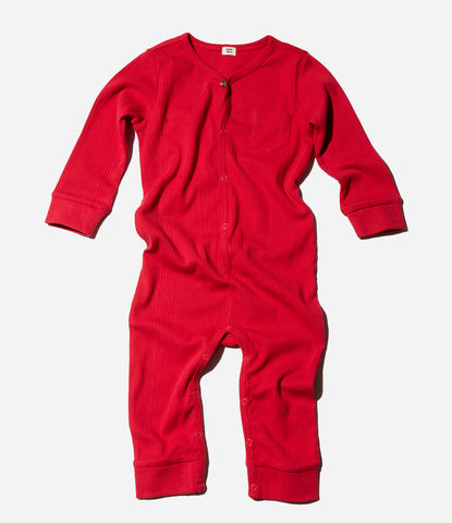 Goat Milk Union Suit Crimson, red, christmas Pyjamas New Zealand, Auckland, Babies, kids. Childrens sleepwear, organic, sustainable. comfy, cosy, beautiful, unisex. Shop now Made Mini Store.