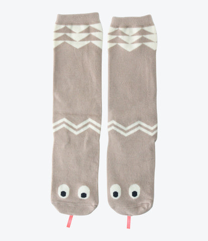 Mini Dressing snake socks in beige, girls accessories, high length, super cute, unique, socks that stay up, auckland, nz