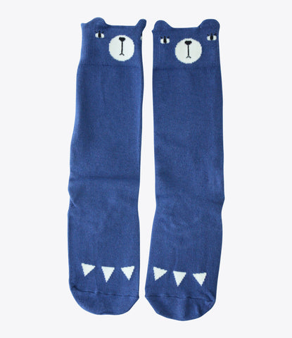 Mini Dressing bear socks in blue, high, stay up, cute, kids accessories, baby socks, auckland nz. Made Mini Store