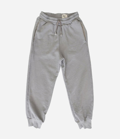 Nico Nico Taupe Track Pants, Unisex, Boys, Girls. Grey, organic track suit. Super comfy, super chill, super cool. Get amongst, shop now. Made Mini Store, Auckland NZ. Online store for childrenswear and babies.