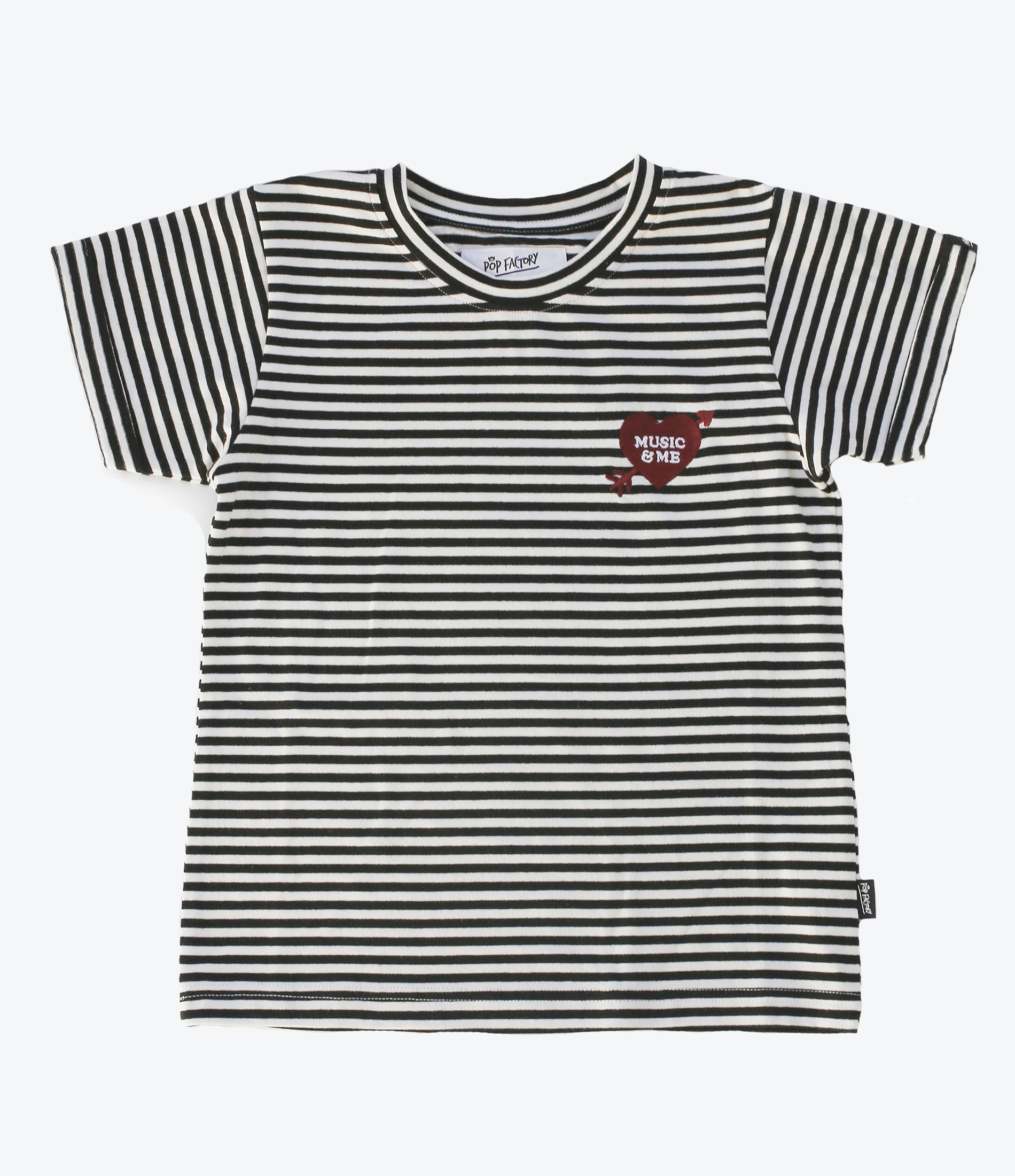 Music and Me Tee by Pop Factory Shop, Girls clothing, Wardrobe staple, Striped with embroidered Heart, Summer Wardrobes. Auckland NZ. Shop at Made Mini Store