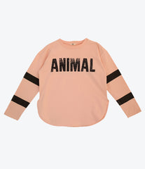 Bandy Button Kane long sleeve tee, animal instinct collection. For girls. Available at Made Mini online store for children, babies. Based in Auckland New Zealand