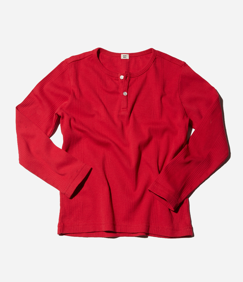 Red long sleeve top, christmas pyjamas and sleepwear, girls, boys, kids, children, unisex, organic, sleepwear. Shop Goat Milk NYC at Made Mini Store