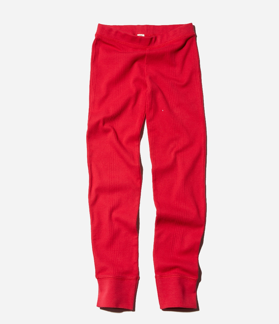 Crimson thermal pant, red, christmas sleepwear, pyjamas, ribbed, organic, beautiful, unisex. Shop Goat Milk at Made Mini Store, Auckland, NZ. New Zealand Baby and childrenswear online store