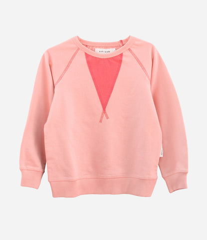 Kid + Kind Varsity Sweatshirt is available at Made Mini Store, Auckland NZ, For the girls, pink, lightweight, perfect for summer. Shop now.