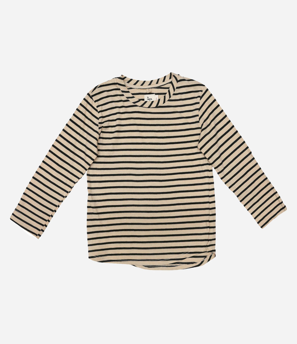Nico Nico Clothing Wisdom Striped tee, totally unisex, totally organic, enjoy quality kids basics available at Made Mini Baby boutique and Kids store. Auckland New Zealand
