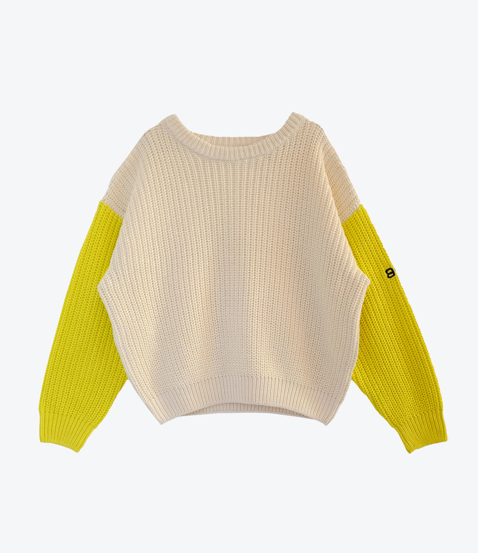 Bandy Button knit, off white with yellow sleeves, animal instinct collection, totally unisex. Boys, girls, babies. Enjoy. Buy from Made Mini Store, Auckland NZ .