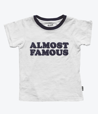 Pop Factory Almost Famous Tee, Unisex. 90's style. White and Navy. Cool Kids clothing for boys and girls. Available at Wilechile in Auckland, New Zealand