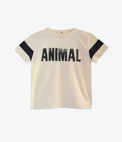 Bandy Button Leeo Tee, off white with black details. Unisex. Basic, wardrobe staple. Clothing for boys and girls. Trust that animal Instinct. Find it at NZ's favourite childrens clothing store Made Mini.