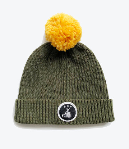 Pop Factory Shop beanie for kids and children. Khaki rib with yellow pom pom. Unisex, cool accessories for kids at Made Mini Store