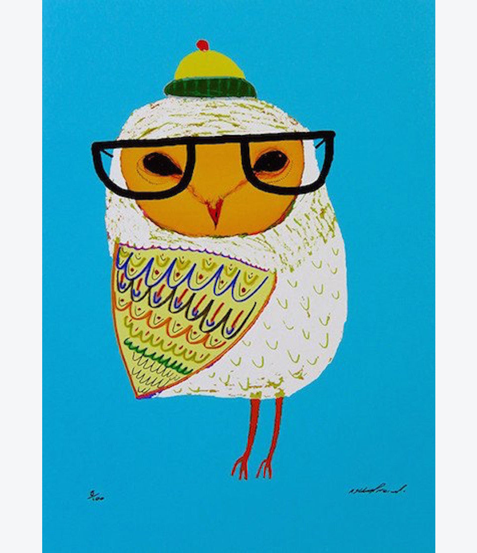 Ashley Percival, owl kids print, bedroom art, kids room, nursery, shop now Made Mini Store, auckland , NZ