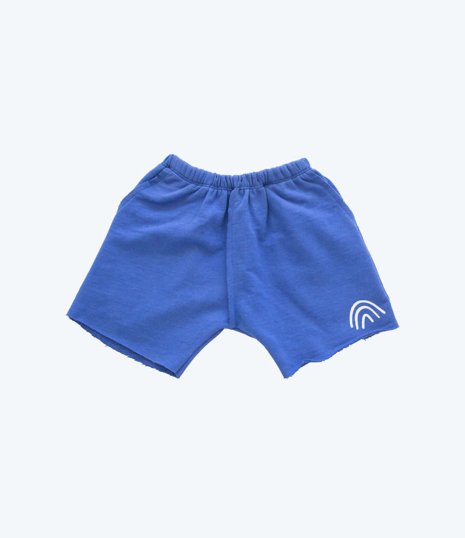 Kid + Kind Rainbow Shorts in Blue. For the Boys, Summer, lightweight shorts. Comfy, Basics. Find yours at Made Mini, Online store for babies and children. Auckland NZ
