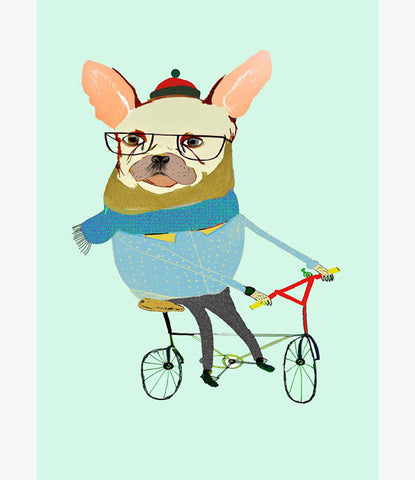 French Bulldog print, Ashley Percival, quirky kids prints, dog lover, art, bedroom decor
