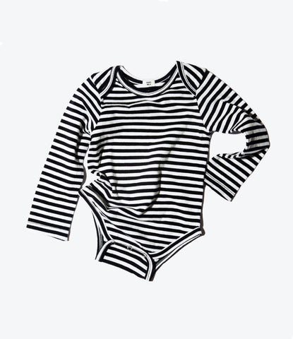 Goat milk nye striped onesie, unisex, organic, prewashed, comfortable, stretchy, clothing for babies and toddlers. Available in Auckland NZ at Wilechile Baby Boutique