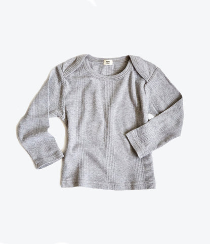 Baby Thermal Top in Grey Rib
