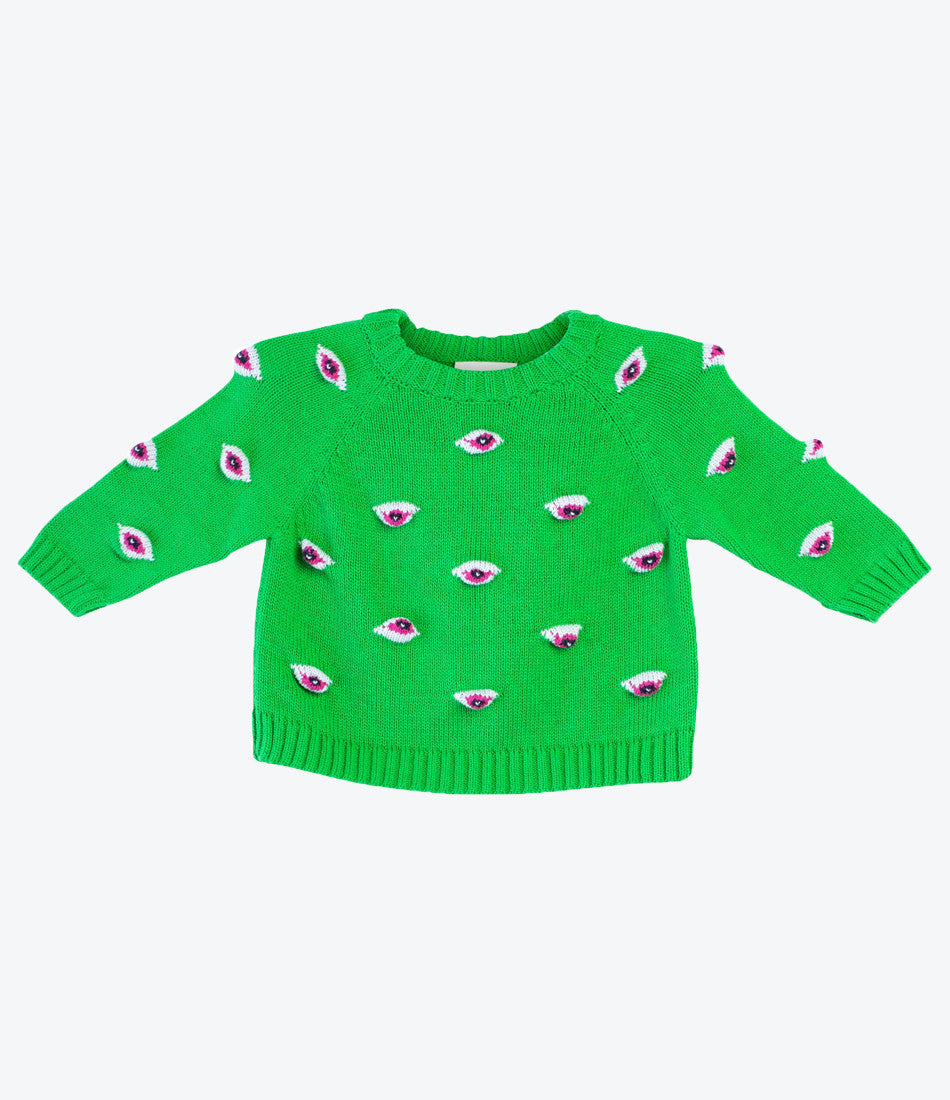 Baby Degen green eyez knitted sweatshirt for babies and kids. fun, cool knitted clothes for baby. Pima Cotton. From New York to NZ. Shop now Made Mini Store. Auckland.