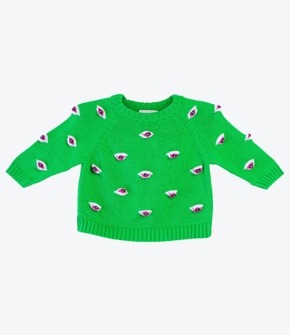 Baby Degen green eyez knitted sweatshirt for babies and kids. fun, cool knitted clothes for baby. Pima Cotton. From New York to NZ