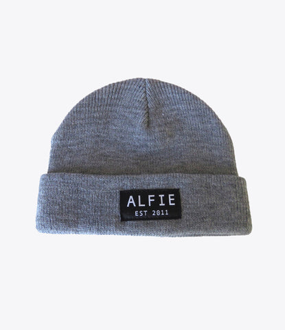 Grey Alfie beanie, for kids, babies, toddlers. Skater kids, Hipster kids, surfer kids. find it at Made Mini Store, Auckland, nz. Baby boutique and childrens clothing store.
