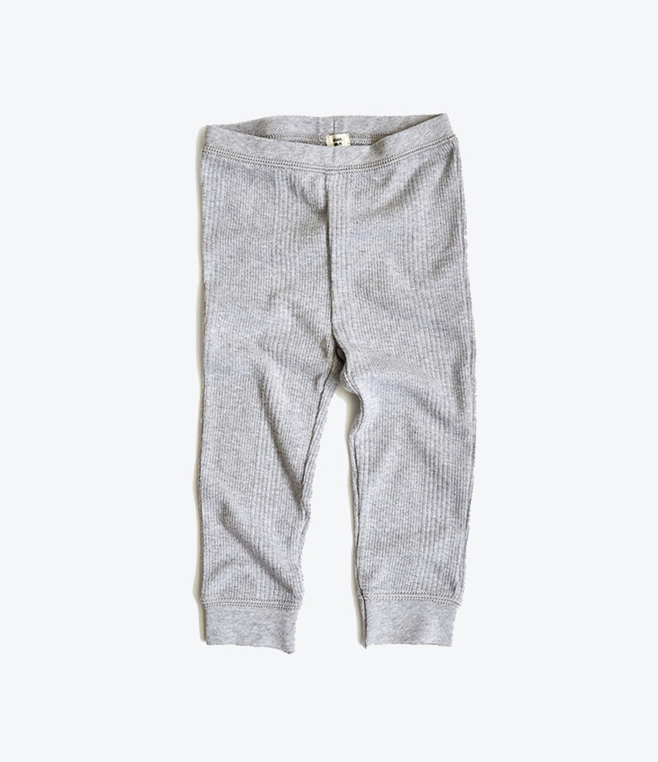Goat Milk NYC grey rib pant for babies. Organic, fair trade, comfy, cosy. Find yours at Made Mini Store in Auckland, NZ