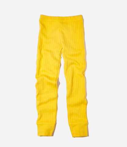Goat Milk thermal pant in mustard, kids childrens organic pyjamas, fair trade, green, sustainable. available at Made Mini Store. auckland new zealand.