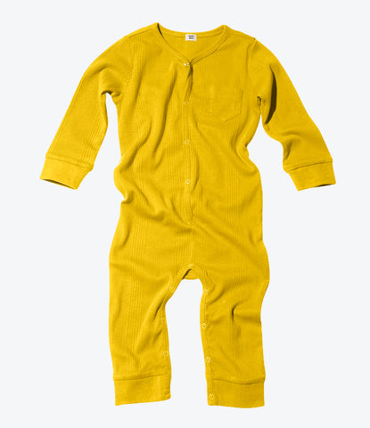 Goat Milk mustard union suit, organic, fair trade, cosy comfy clothing and sleepwear for babies and kids. Shop Goat Milk at Made Mini Store.