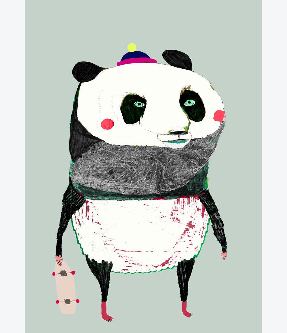 Panda Print, Ashley Percival. Shop childrens room decor and prints at Made Mini Store, Auckland New Zealand store for kids.