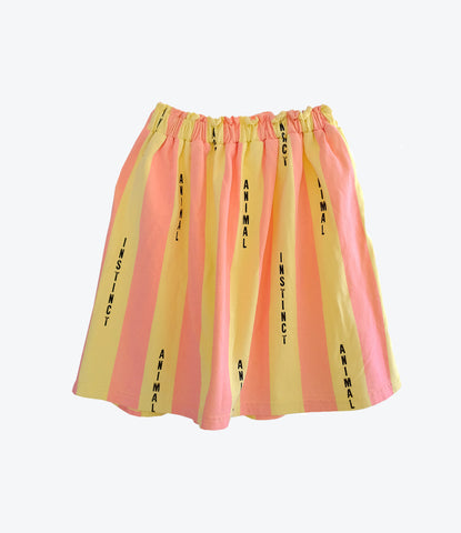 Bandy Button Riane skirt, animal instinct collection. Yellow and coral stripes. Available at Wilechile Boutique, online baby boutique with cool clothes for babies and children. Auckland Nz