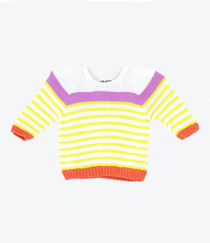 Handknitted spanish cotton colourful stripe girls sweater in purple yellow and red. Shop now Made Mini Store.