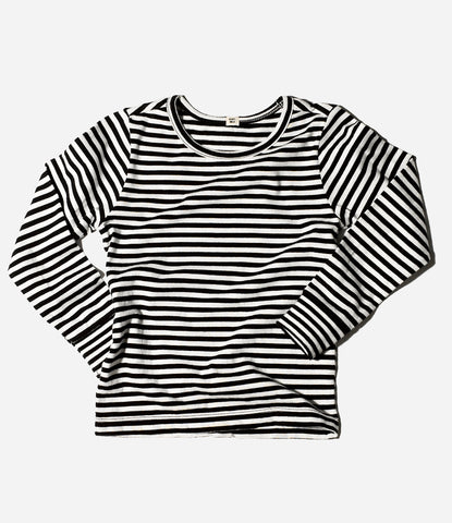 Striped thermal long sleeve top, unisex, organic cotton, basic, wardrobe staple, shop Goat Milk NYC at Made Mini Store, Auckland NZ