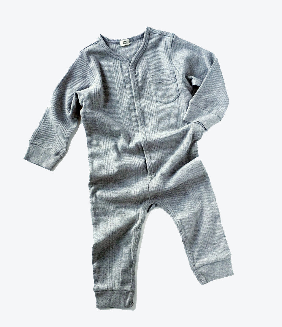 goat milk nyc union suit in grey, ribbed cotton, organic, environmentally friendly, baby clothes, kids clothes, shop now, Made Mini Store, auckland, nz