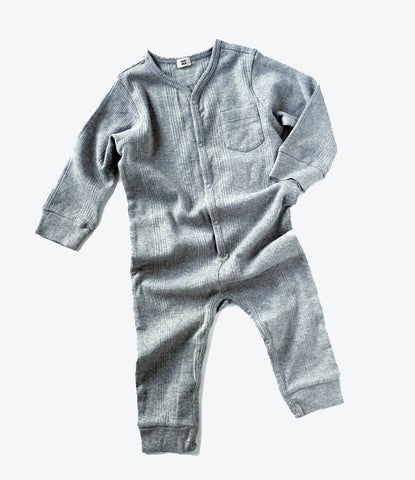 goat milk nyc union suit in grey, ribbed cotton, organic, environmentally friendly, baby clothes, kids clothes, auckland, nz