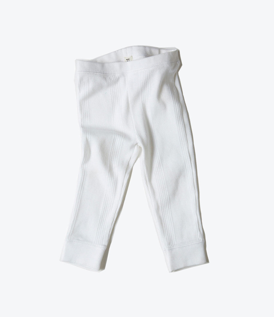 goat milk nyc white rib pant for babies. organic cotton, preached, comfortable, basic. Find it at Made Mini in Auckland NZ