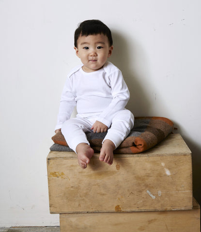 Baby Thermal Pant in White Rib