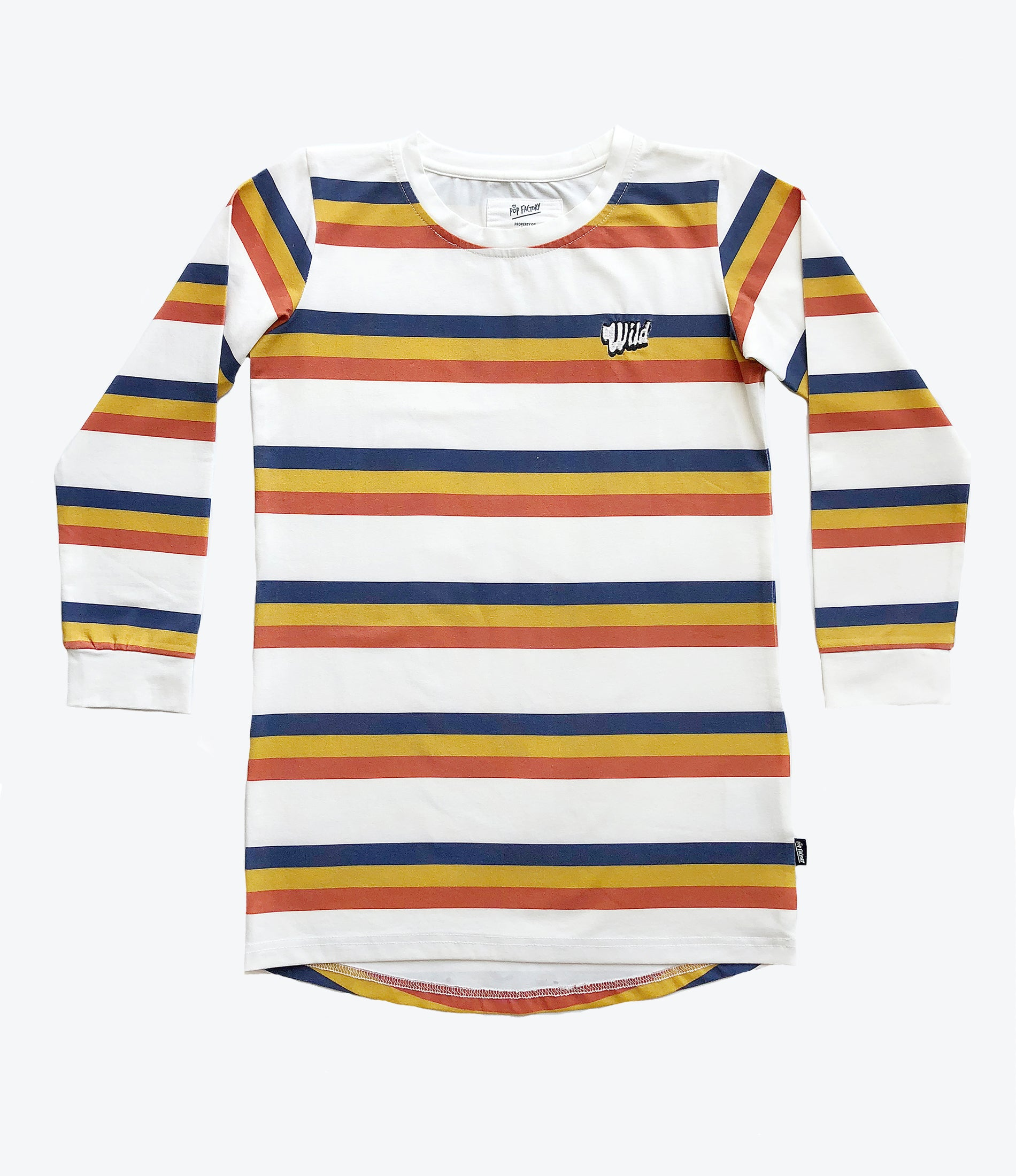 Pop Factory Shop wild stripes dress for the girls. Clothes for every day wear. Shop now at Made Mini Store. Free shipping NZ wide.