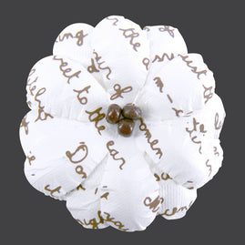 Flowers - Beaded Flower With Script Print - 10 pieces