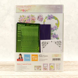 Dot & Do 3D Push Out Kit - Vintage Flowers - Purple Flowers