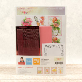 Dot & Do 3D Push Out Kit - Vintage Flowers - Pink Butterfly