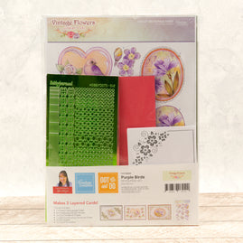 Dot & Do 3D Push Out Kit - Vintage Flowers - Purple Birds