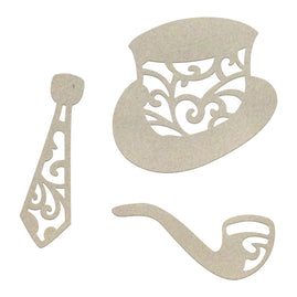 Chipboard - Gentlemans Emp - Hat, Tie and Pipe Set (3pc) - 50 x 47mm, 52 x 22mm, 50 x 21mm