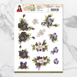 x 3D Diecut Decoupage - Precious Marieke Nature of Christmas - Winter Flowers - SB10184